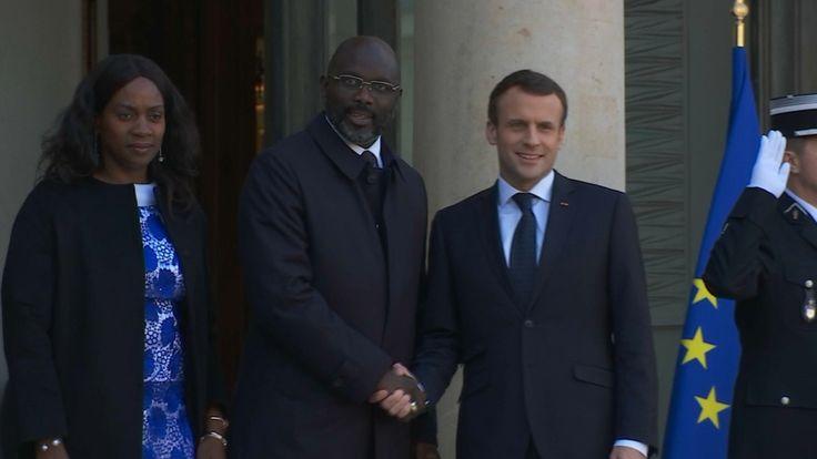 George Weah et Kylian Mbappé reçus par Emmanuel Macron à l'Elysée