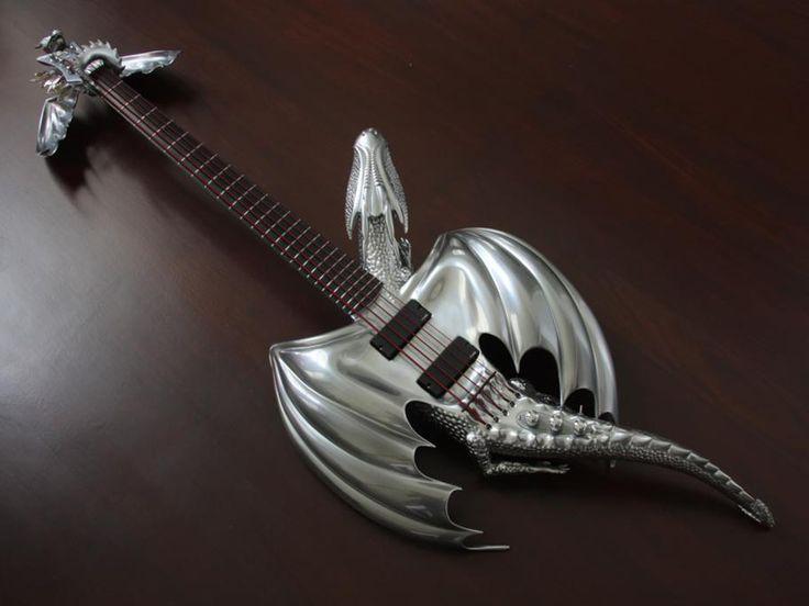 Chrome Dragon Bass Guitar by Emerald Guitars