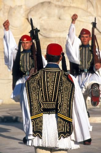 ~Guards at the Tomb of the Unknown Soldier, Athens~Greece #greece #athens #tomb