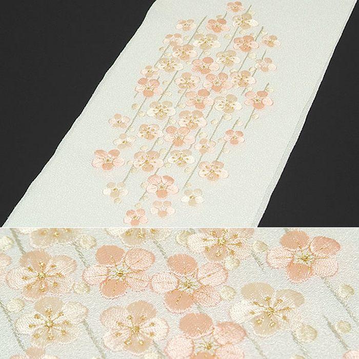 刺繍半衿「白色×ピンク枝垂れ梅」日本製<R>【メール便対応可】半襟振袖半えり