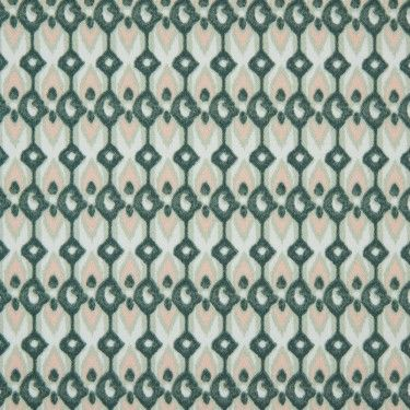 Green Geometric Ikat Printed Stretch Cotton Sateen