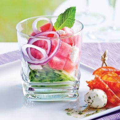 Melon d'eau et concombre à la grecque - Recettes - Cuisine et nutrition - Pratico Pratiques