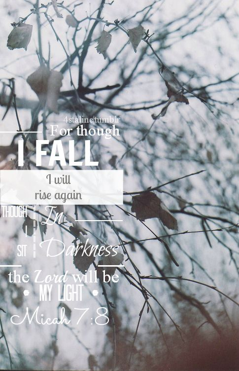 Micah 7:8 ~ For though I fall I will rise again, for though I sit in darkness God will be my Light.