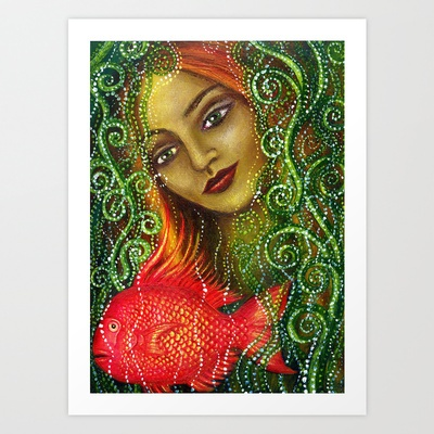 Mermaid and Fish Art Print by Alice Mason - $22.88