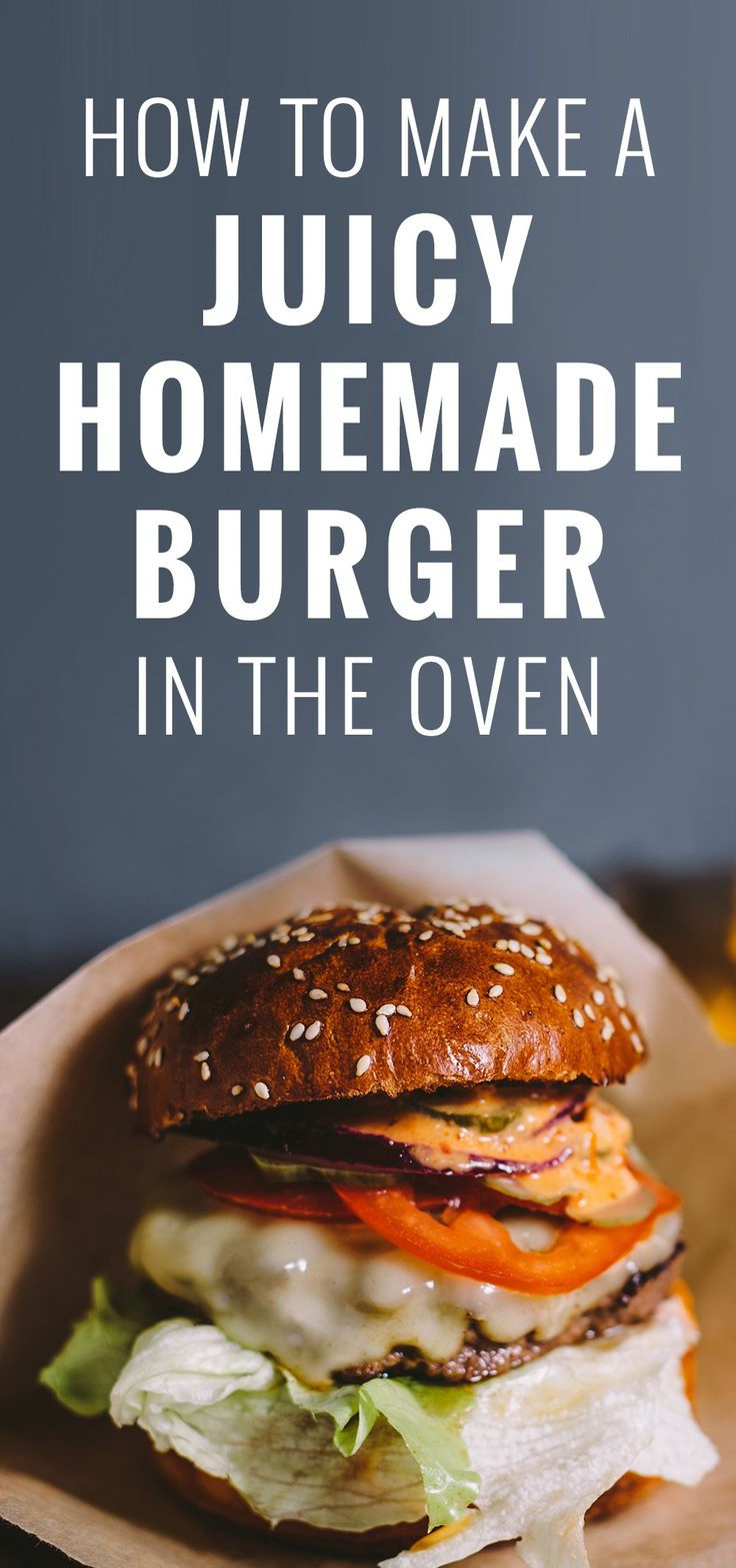 Hamburgers can be cooked many different ways, including on the stove or grill and in the oven. The oven-cooked hamburger also tend to be juicer and more tender because the oven allows heat to be evenly distributed. The most common types of beef used for hamburgers are ground chuck and ground sirloin. Both types of meat can be bought from your local market.