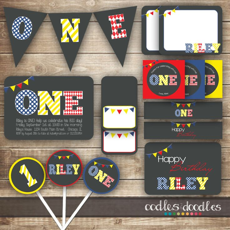 1st Birthday PARTY PACKAGE / First Birthday / Primary Colors / Boy or Girl  or Twins Party Kit / Stripes, Polka Dots, Argyle  - Printable by OandD on Etsy https://www.etsy.com/listing/195043592/1st-birthday-party-package-first