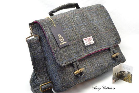 Handwoven Harris Tweed Pure Wool Designer Traditional Herringbone Briefcase Style Messenger Laptop MacBook Satchel Bag