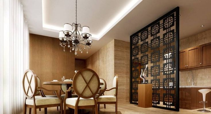 Imposing Partition Between Kitchen And Dining Room With Rustic Pendant Lamp Wooden Furniture