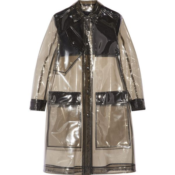 Belstaff Grayson PVC raincoat ($823) ❤ liked on Polyvore featuring outerwear, coats, black, pvc rain coat, rain coat, mac coat, black rain coat and black coat