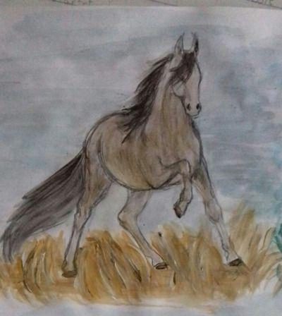 #my art #horse #field #painting #K.R.