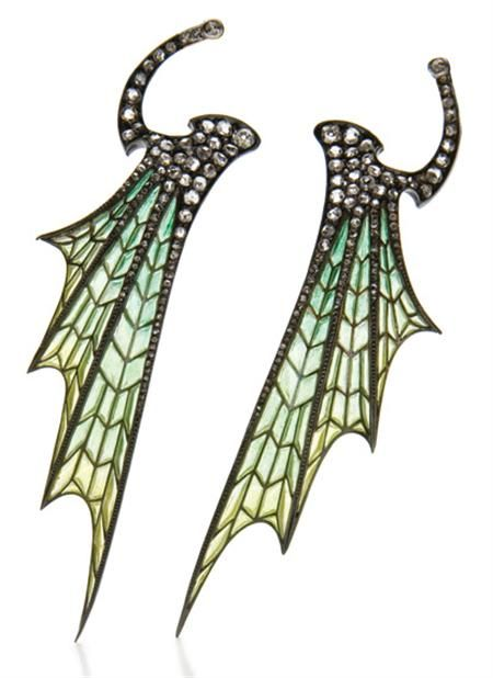 Pair of Art Nouveau Gold, Silver, Plique-a-Jour Enamel and Diamond Wing Hair Clip Ornaments (Doyle New York)  The stylized wings of light blue and green plique-a-jour enamel, accented by 2 old-mine and numerous rose-cut diamonds, swivels at clip fitting.