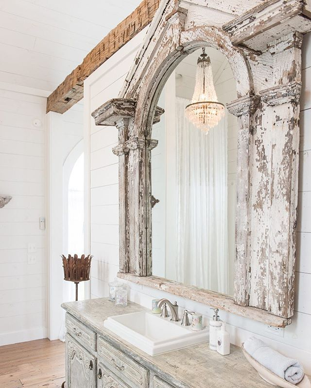 Constructed With Reclaimed Materials Like This Over 100 Year Old 25 Foot Long Beam Antique Window Frame Used As Oversized Mirror French Sideboard As The