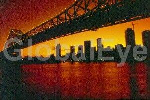 Storey Bridge - Brisbane #2. Sillouetted Skyline  Brisbane Queensland Australia. Stock Photo By Anthony Radford