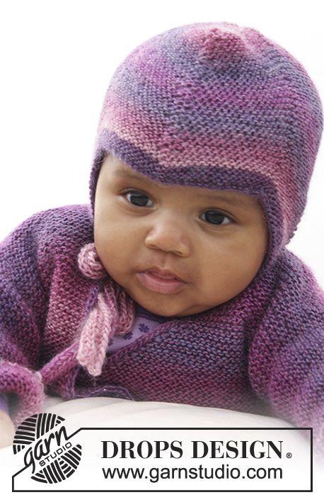 """Sweet Evelina Hat / DROPS Baby 20-2 - DROPS čepice pletená vroubkovým vzorem z příze """"Delight."""
