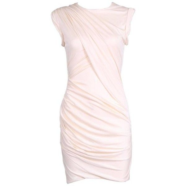 Preowned Alexander Wang Creme-colored Stretch Draped Sleeveless Mini... ($575) ❤ liked on Polyvore featuring dresses, white, white dresses, white cocktail dress, cream cocktail dress, cream short dress and stretchy dresses