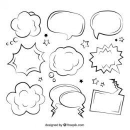 Sketchy comic speech bubbles