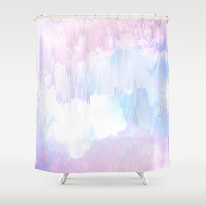 Buy Sky Fall Dream Pastel Glitch Pink And Blue Shower Curtain By