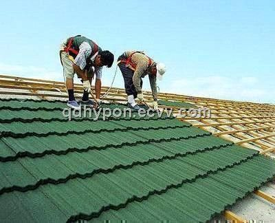 color stone chip coated metal roof tile (001) - China roof tile, HYPON