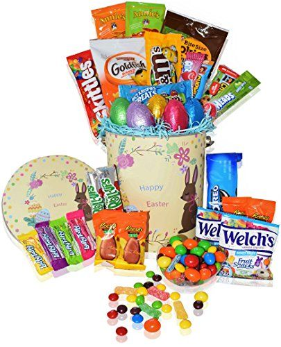 Easter Basket Tin (30ct) - Premade Kids Boys Girls - Filled with Easter Eggs Candy Chocolate - Great Easter Care Package for Family and Friends -Huevos de Pascua