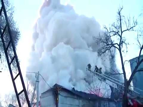 Fireworks warehouse exploding in flames, Russia
