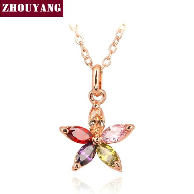 ZYN245 Цвет Цветка Розовое Золото Льоны Ожерелье Ювелирные Изделия Австрийский хрусталь Оптовая
