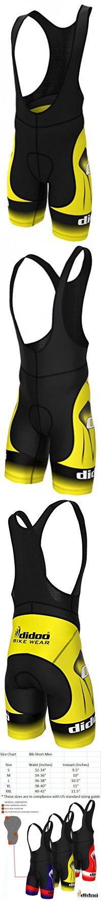 Didoo Men's Top Quality Cycling Bib Shorts Biking Racing Pants XXL Yellow