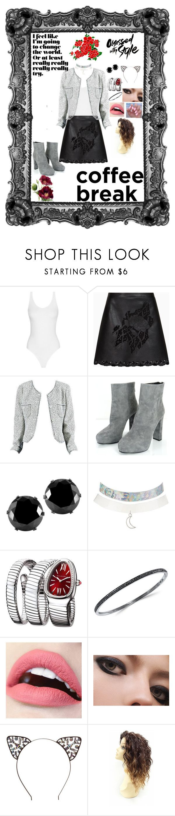 """""""coffee with a co worker"""" by bishpleaseimaprincess on Polyvore featuring BCBGMAXAZRIA, Chanel, Prada, West Coast Jewelry, Charlotte Russe, Bulgari and Effy Jewelry"""