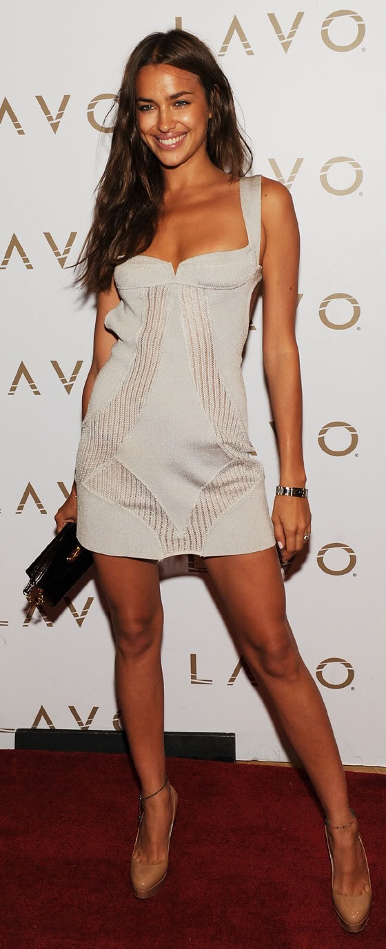 Irina Shayk,,, tan, lean, long hair, but I say it's that smile. Everyone is more beautiful with a genuine smile.