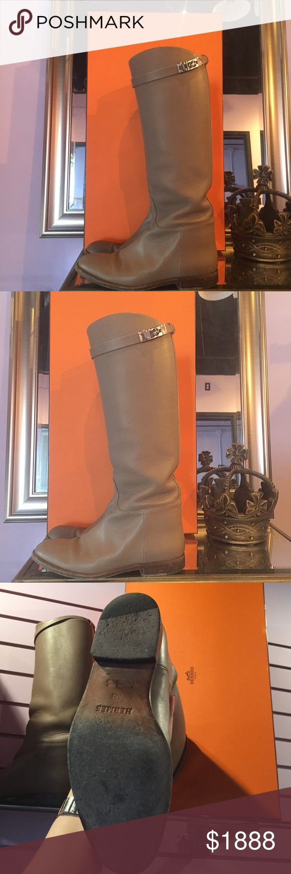 Authentic Hermès Jumping Kelly Birkin Boots MAKE ME AN OFFER ! 🐴 Barely worn but nicely broken in Hermès Jumping Kelly boots in Etoupe color! So chic and classic sure to be loved for generations! Comes with original orange box, shoe bags, and ribbons! Purchased at Hermès at Wynn.  As always our items are always authentic! We are a consignment store located one block off of the Las Vegas Strip!  Want more photos or have a question? 👉🏻 dayandnightlv @ G M a i l . C o m 💜😉✨ Hermes Shoes…