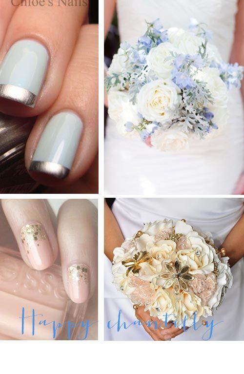 Vernis mariée assorti au bouquet bleu mint or blush rose