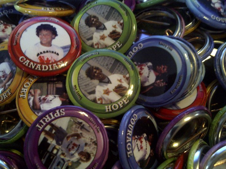 Terry Fox buttons - each has an image of Terry and a word - Canadian, Hope, Effort, Spirit & Courage.  Available at your local Terry Fox Run for $1 each.