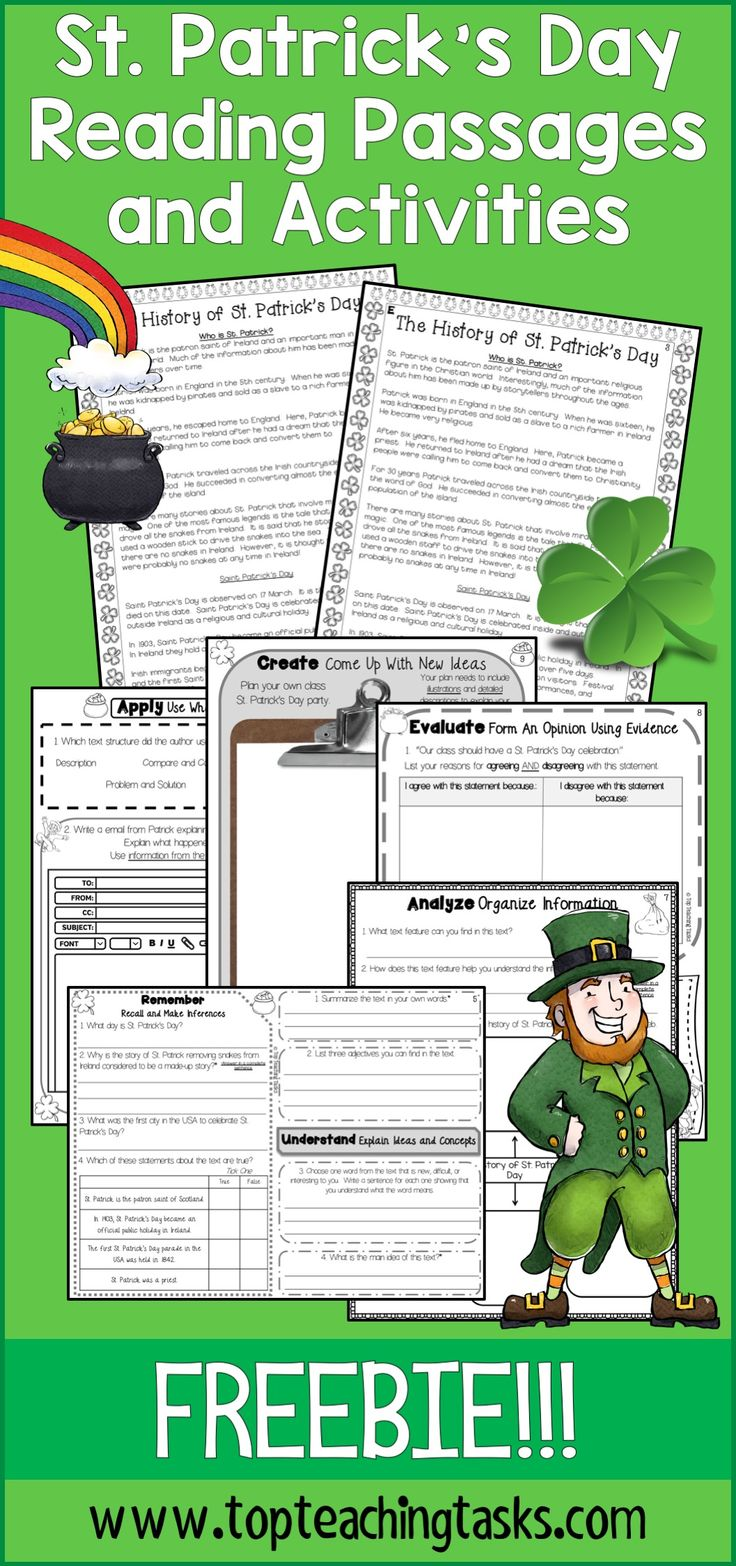 Let us save you time this St. Patrick's Day! Our Grade Four and Grade Five (Year Five and Six) St. Patrick's Day-themed close reading passage (differentiated) will engage your students while reinforcing important reading skills - great reading comprehension activities for your guided reading program. Your students will love these St. Patrick's Day Reading Activities! Two differentiated St. Patrick's Day passages