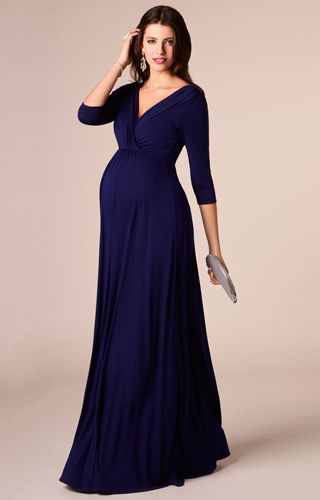 Royal blue maternity maxi dress by Tiffany Rose. Great occasion ware ideas for the festive season.