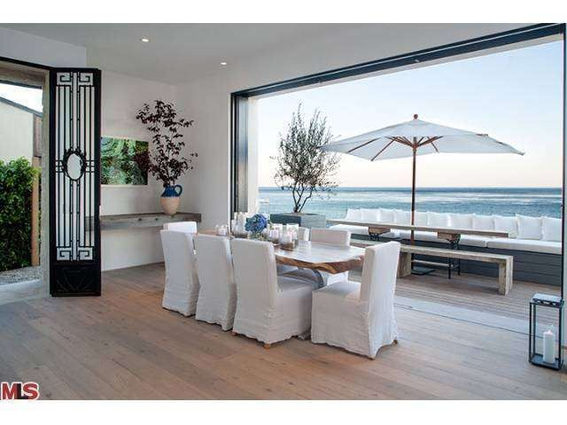 A Unique Spin On The Traditional Dining Room With All White Decor And Ocean Views