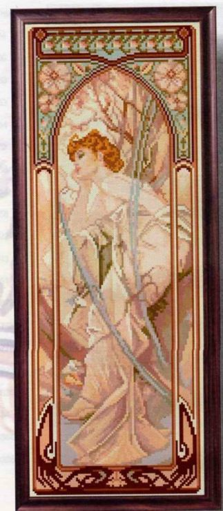 "Borduren: A.Mucha 1 ~""The Times of the Day: Evening Contemplation"": zie ""Bezoeken"" voor 8 patronen~"