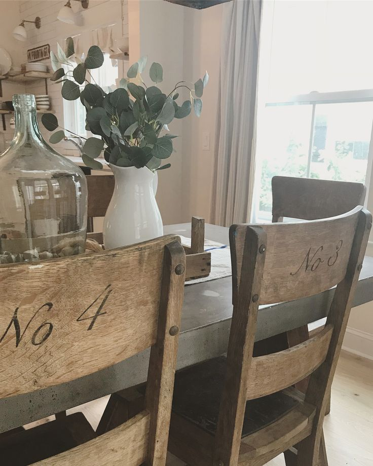 "469 Likes, 18 Comments - @nikki_grandy on Instagram: ""You know my antique oak dining chairs that I hand painted numbers on the back of? I'm getting rid…"""