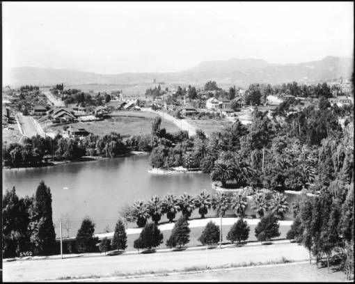 Panoramic view of Echo Park, looking north toward Mount Hollywood, December 1911 :: California Historical Society Collection, 1860-1960