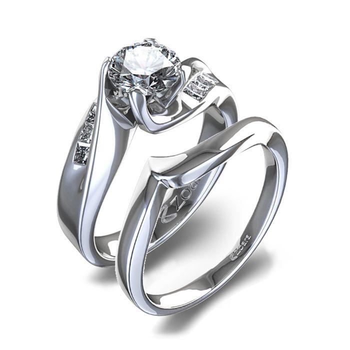 Diamond Ring Sets Curved Womens Diamond Wedding Set In 14k White