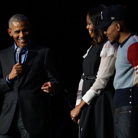 First Lady Michele Obama Introduced Her Husband 44th President Of The United States Of America Barack Obama On Stage With Chance the Rapper at the Obama Foundation Summit Last Day #Celebration #Concert #44thPresident #BarackObama & #FirstLady #MichelleObama Two Days Obama Foundation Summit #Day2 #November1st #2017 #TheObamas #Chancetherapper #ObamaSummit #ObamaFoundationSummit #ObamaFoundation