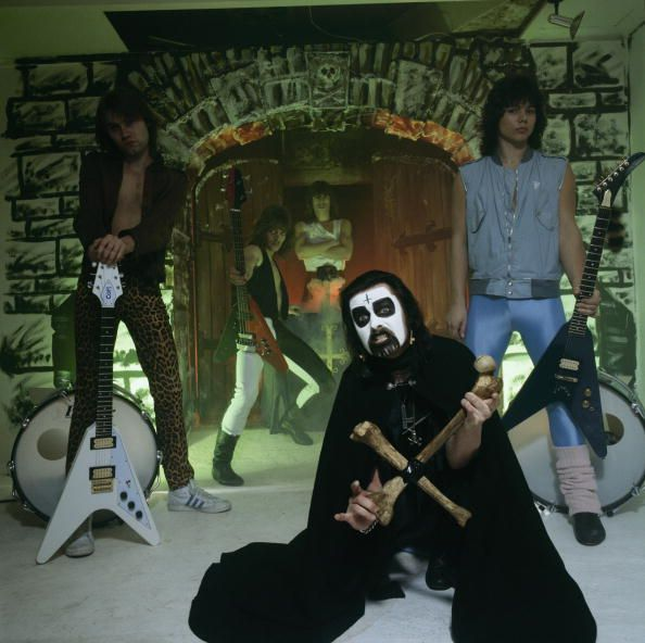 Posed group portrait of Mercyful Fate Left to right are Michael Danner Timi Hansen Kim Ruzz King Diamond and Hank Shermann in March 1983