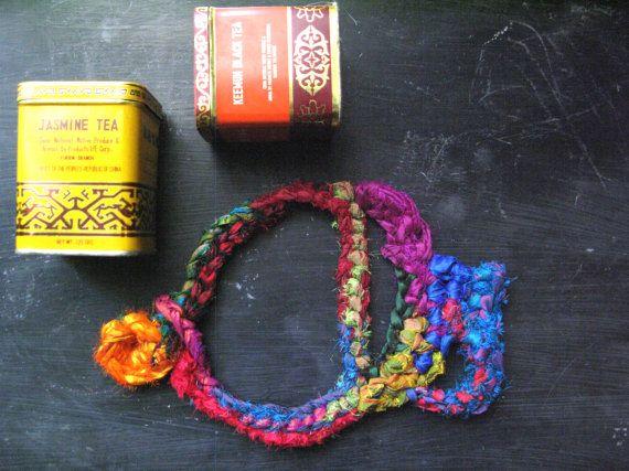 Silk crochet necklace boho necklace multicolor by WearitCrochet