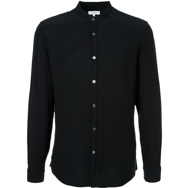 Venroy grandad collar shirt ($85) ❤ liked on Polyvore featuring men's fashion, men's clothing, men's shirts, men's casual shirts, blue, mens grandad shirts, mens collared shirt, mens blue shirt and mens grandad collar shirt