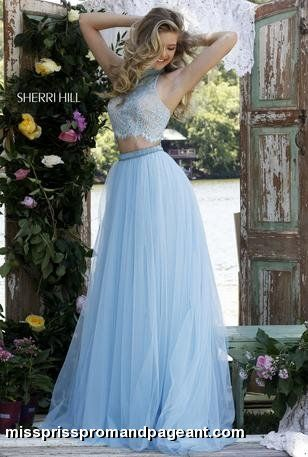 Sherri Hill - 32347 ivory, light blue, pink, lilac, pastel color options... 2 piece crop top prom pageant 2016 dress with high neckline and lace detailing
