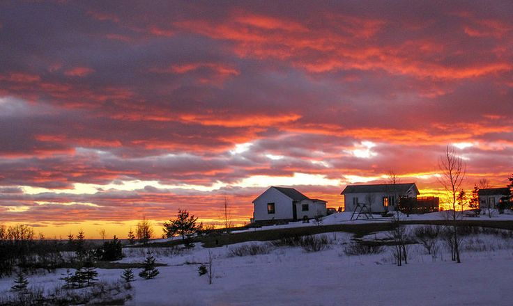 burning sky sunset this winter @ #Gaspésie, #Québec, #Canada. By #dannyvb