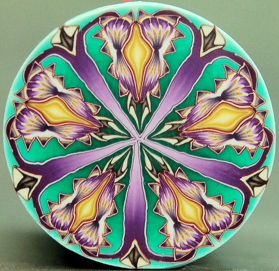 Purple Green and Yellow Polymer by ikandiclay, kaleidoscope cane.