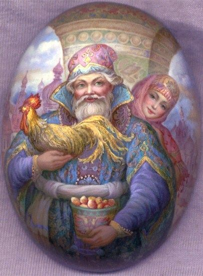 Russian lacquer miniature from the village of Fedoskino. Russian beauty with a man holding a cockerel and a basket of eggs – symbols of Easter.
