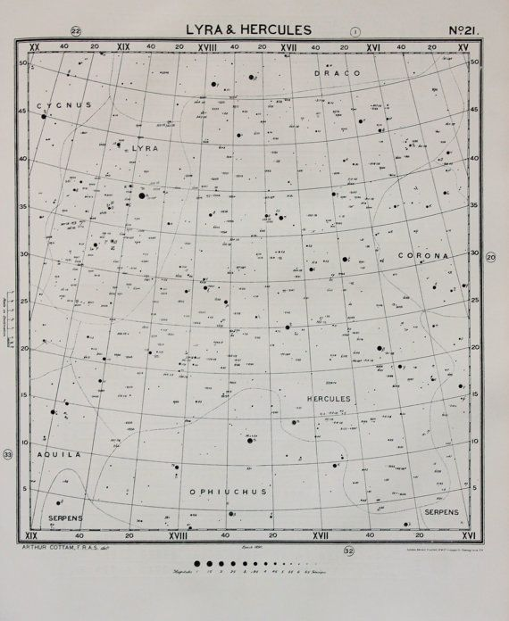 1920 Antique Astronomy Print , Lyra & Hercules Constellations, Star Chart in…