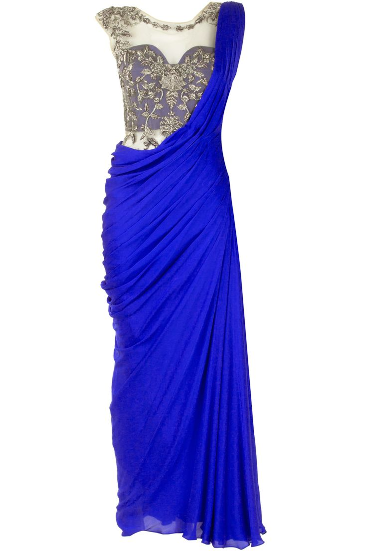 Royal blue #Saree Gown with embroidered silver blouse, available at Pernia's Pop-Up Shop.