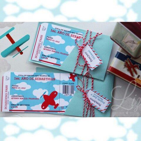 Tickets para abordar a la fiesta del 1er. Año del hermoso  Sebasthian! Súper emocionados preparando los detalles personalizados de este mini- piloto  para su  Birthday Party ! ✈☁☁invitaciones / airplane theme / aeroplano / aviones / cumpleaños infantil / fiesta / aeronautica / tarjeteria personalizada / hand made / hecho a mano / tarjetas / planes birthday party / boy /
