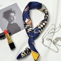 Women Elegant Square Silk Satin Scarf Vintage Head Neck Hair Tie Band